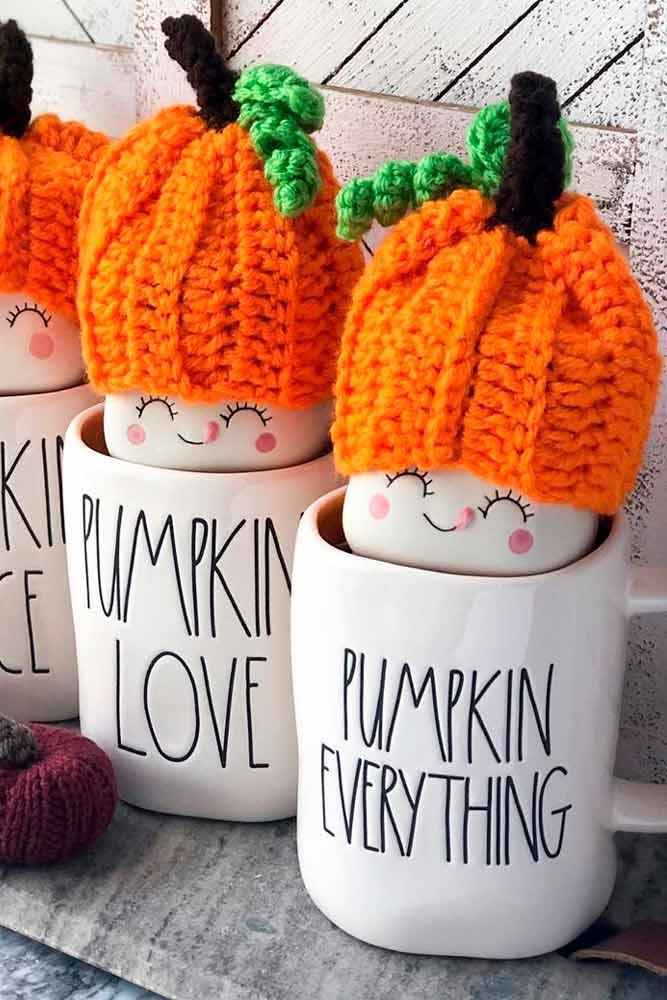 Cute Pumpkin Knitted Hats #knitteddecor #handmade