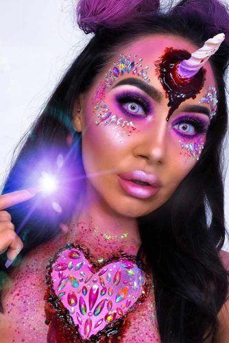 Crystals Bloody Unicorn Makeup Idea #crystalsmakeup