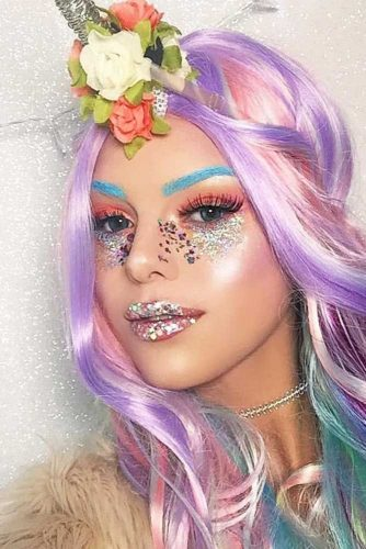 Glitter Unicorn Makeup With Bright Colors #bluebrows #orangeshadow
