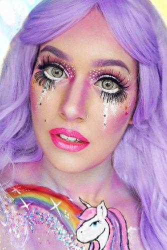 Doll Unicorn Makeup Idea #dollmakeup #falselashes