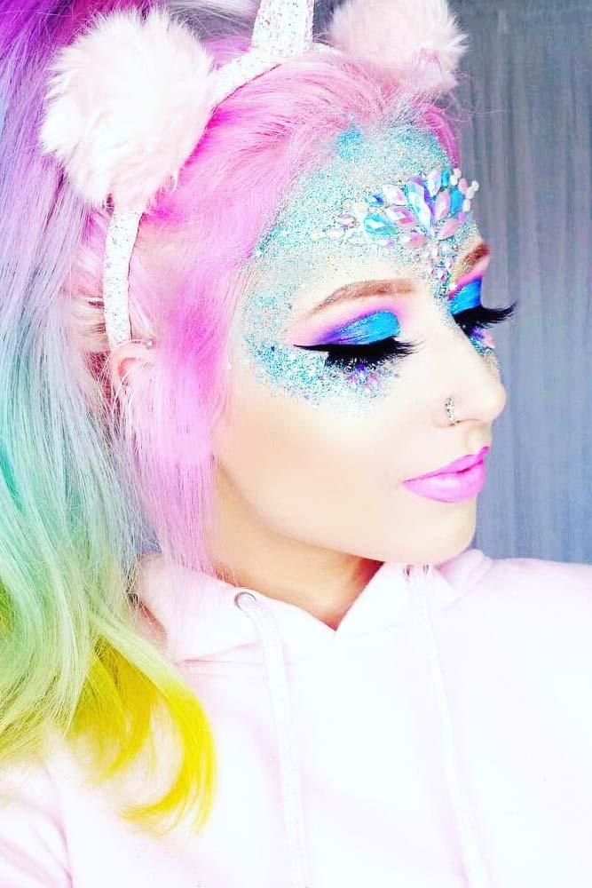 Sparkly Glitter Unicorn Makeup #crystals #glittermakeup