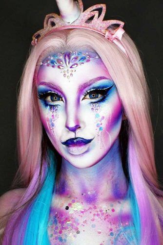 Purple And Blue Unicprn Makeup Idea #crystals #faceart