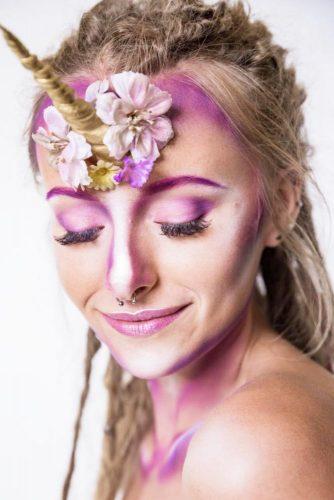 Unicorn Makeup Art In Purple Colors #purpleunicorn #makeupart