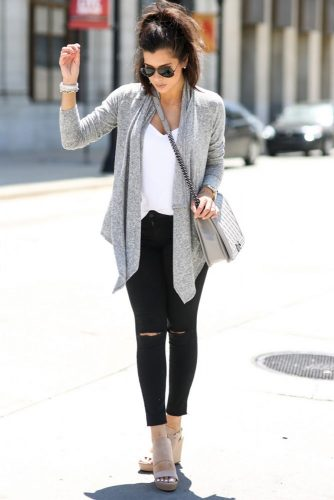 Simple Outfit Idea with Gray Cardigan and Ripped Jeans
