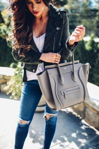 Stylish Look with a Moto Jacket and Ripped Jeans