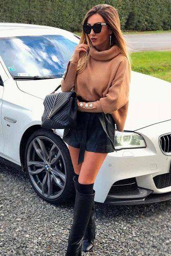 Oversize Sweater And Leather Shorts #oversize #leathershorts1
