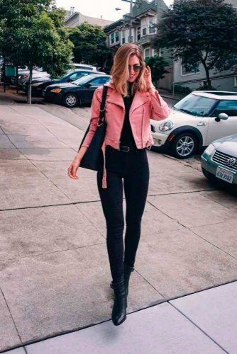 Pink Leather Jacket To Brighten Up Your Fall Outfit Ideas #stylishlook #casualoutfits