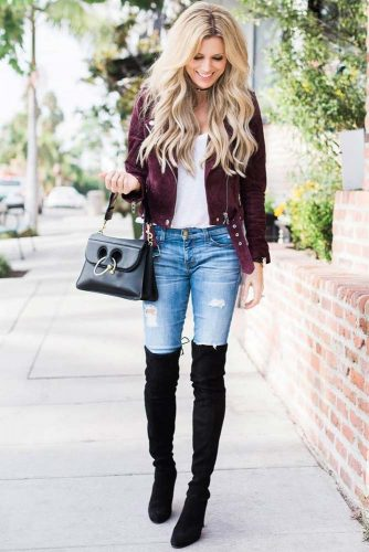 Popular Fall Look with a Moto Jacket and High Black Boots