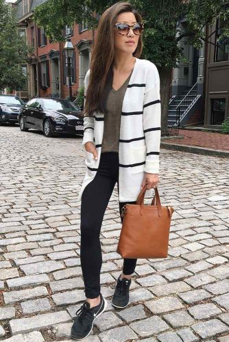 Striped Cardigan Look to Create Cute Outfits for School