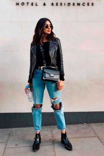 Cool Fall Outfit With Torn Jeans #stylishlook #casualoutfits