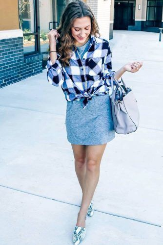 Comfy Dress With Flannel Shirt Outfit #dressoutfit