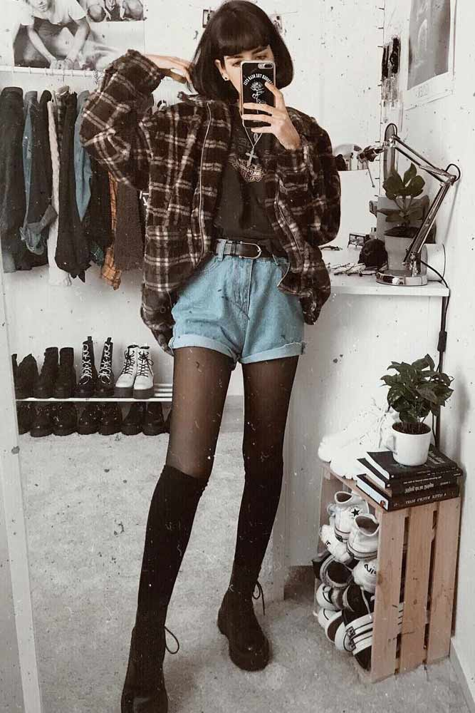 Denim Shorts With Flannel Shirt Outfit #denimshorts