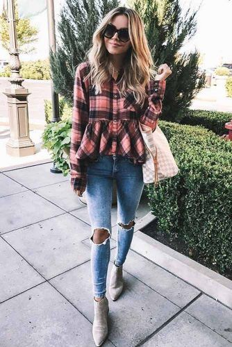 Ripped Jeans With Ruffled Shirt Outfit Idea #ruffledshirt