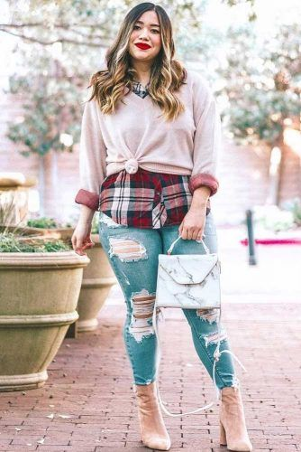Ripped Jeans With Flannel Shirt Outfit #sweater #plussize