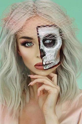 Half Face Skeleton Makeup #glitterskeleton