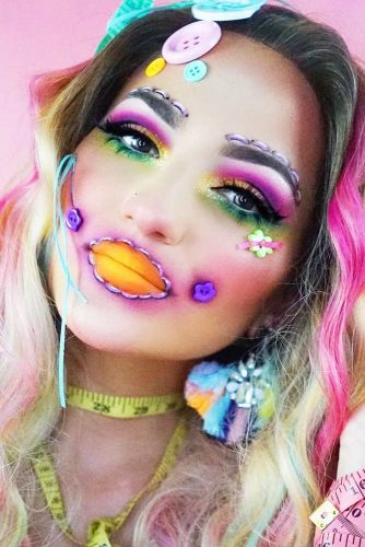 Rainbow Face Makeup #dollface #rainbowface