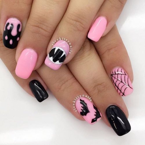 Black and Pink Halloween Nails Idea