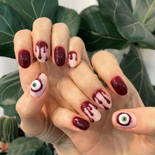 Blood And Eyes For Scary Mani #bloodnail #scarynails