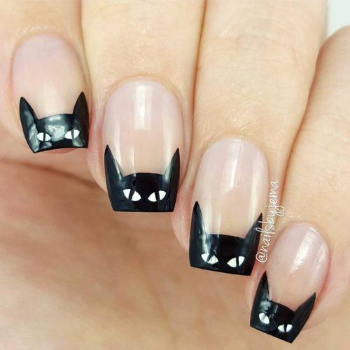 Cats or Batman Fall Nail Art