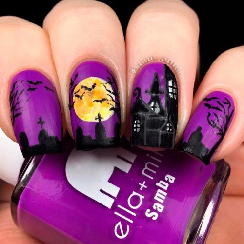 House With The Ghosts #handpaintednails #scarynail