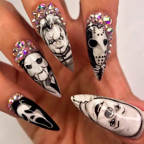 Glam Killers: Mani For Halloween #rhinestonesnails #glamnails