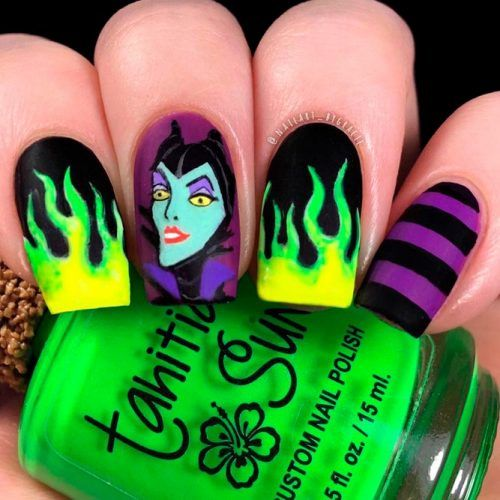 Maleficent Nail Art #cartoonnails