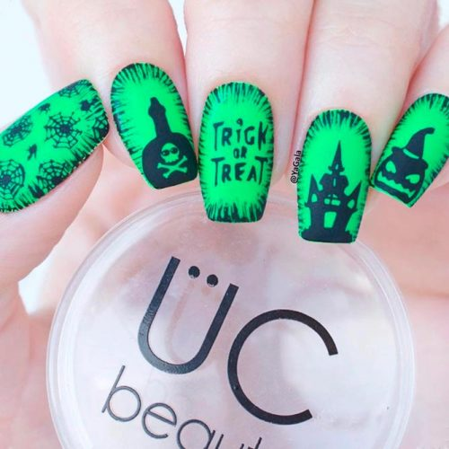 Trick Or Treat Nail Art #mattenails #greennails #stampingnails