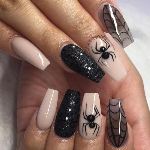 Spider and Web Coffin Nails