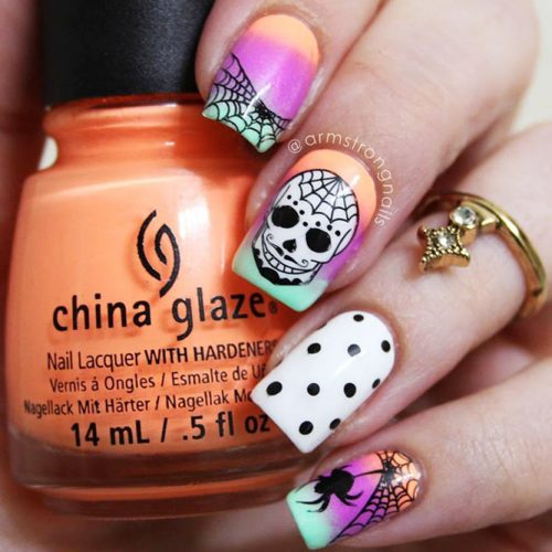 Skeleton Webs and Spider Mix Nail Design