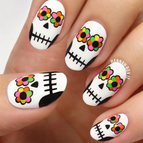 Flower Sugar Skull Nail Art Idea