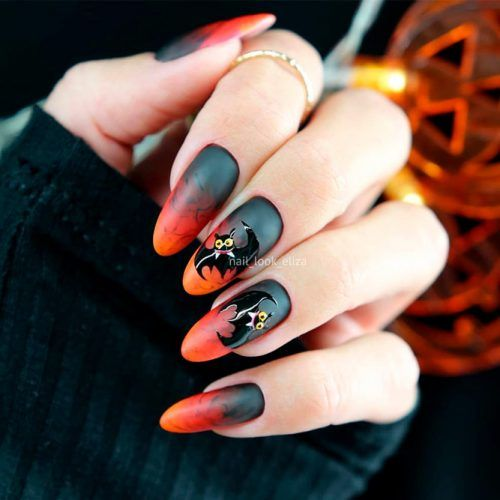 Fire Ombre Nail design With Bats #ombrenails