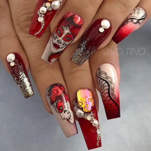 Sugar Skull Halloween Nails #sugarskullnails #rednails
