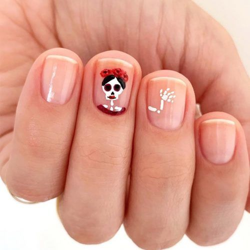 Short Nails With Skeleton Art #skeletonnails