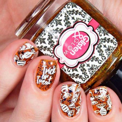 Tricks Or Treat Nail Art #shortnails