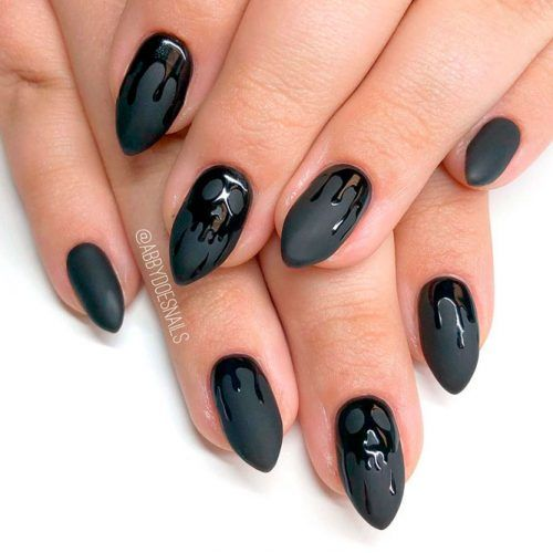 Matte And Glossy Halloween Nail Art #easynails