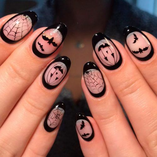 Negative Space Halloween Nail Design #nails #scarynails
