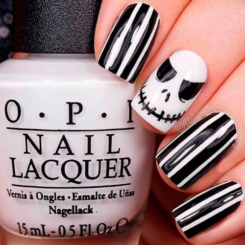 nd Scary Halloween Nails With Jack Skeleton #scarynails #funnails