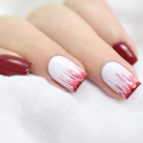 Scary Red Blood Nail Art #easynailart #scarynails