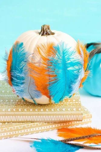 Colorful Feathers Pumpkin Decorations #featherdecor