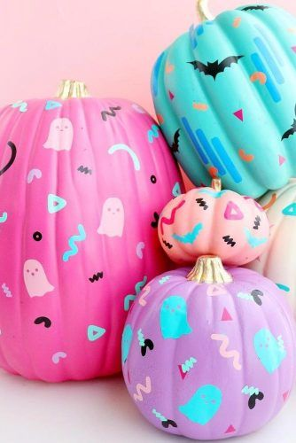 Colorful Pumpkins With Funny Arts #ghost #bats
