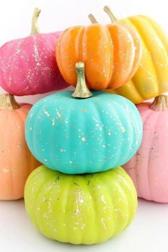 Colorful Pumpkins With Gold Splatter Decor #goldsplatter