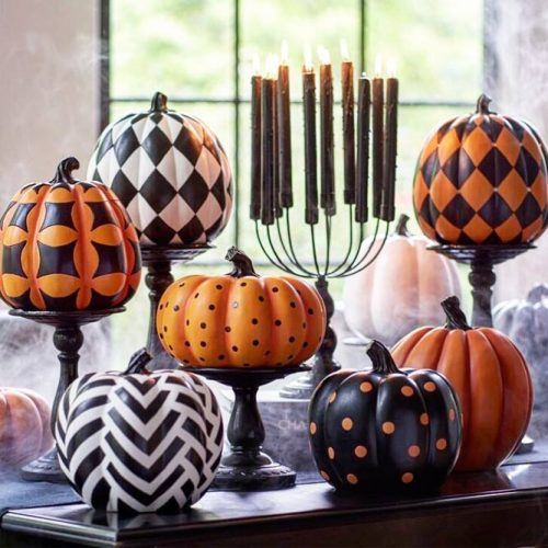 Patterned Pumpkin Designs #patternedpumpkin #dotspumpkin