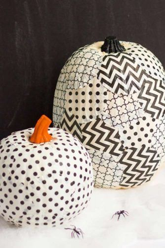 Paper Black And White Pumpkin Decoration #patterneddecorations