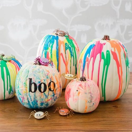 Rainbow Pumpkin Decorating Ideas #rainbowpumpkin #boo