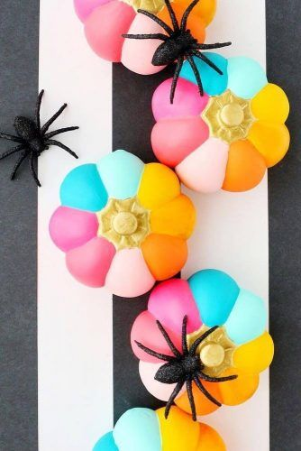 Colorful Striped Pumpkins Decor #colorfulstripes