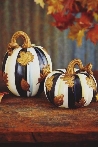 Striped Pumpkin Decorations With Leaves Pattern #stripedpumpkin