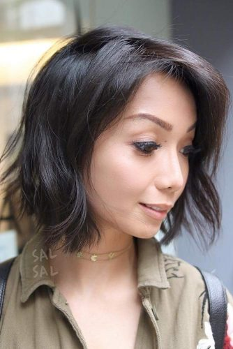 Tousled Brunette Colored Bob
