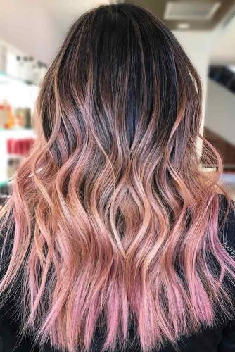 Shaggy Hair with Peach and Pink Balayage