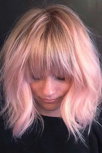 Fabulous Layered Pink Bob with Fringe