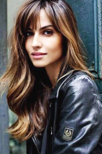 Rich Brown Color with Wispy Bangs